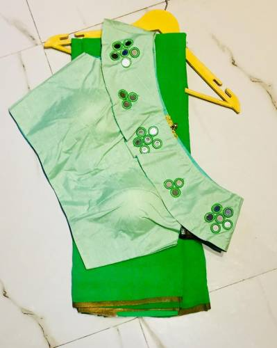 Classy Green Georgette Saree With Silk Ready Made Blouse-VT3005110C