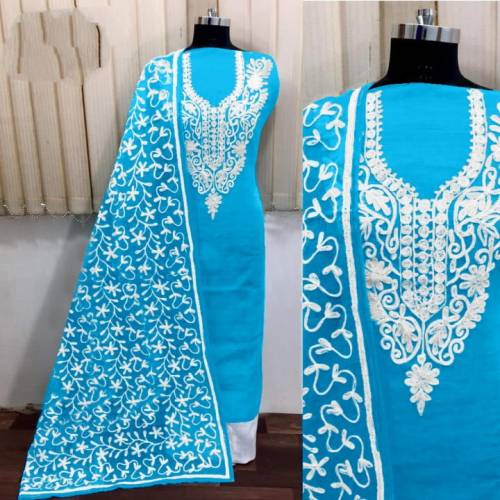 Amazing Sky Blue Silk With Aari Work Salwar Suit-VT3003101A