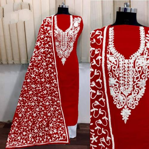 Alluring Red Silk With Aari Work Salwar Suit-VT3003101J