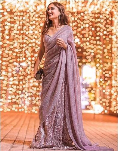 Beautiful Light Purple Georgette Embroidered Sequence Work Saree