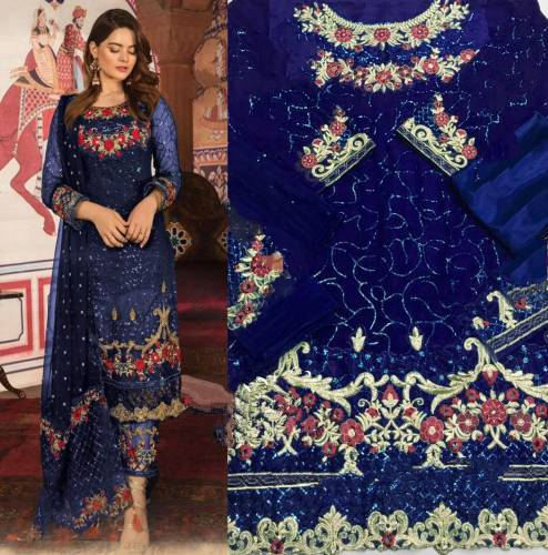 Classic Blue Georgette With Embroidered Work Salwar Suit