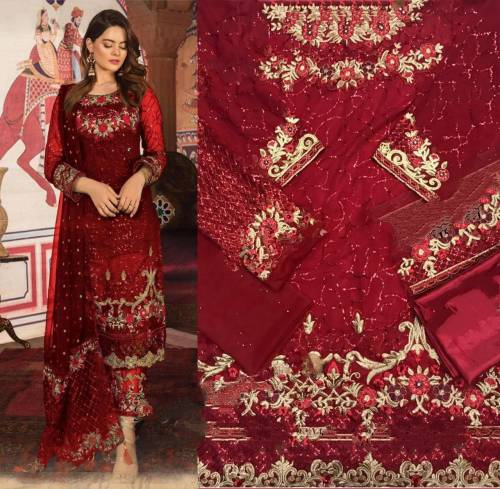 Beautiful Red Georgette With Embroidered Work Salwar Suit