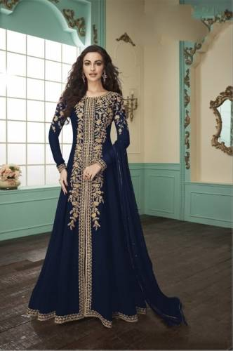 Amazing Navy Blue Georgette Embroidered Work Salwar Suit