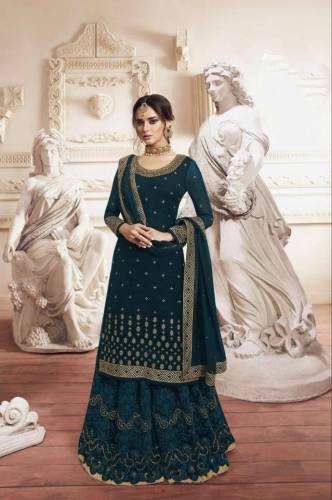 Beautiful Rama Georgette Embroidered Work Plazo Salwar Suit