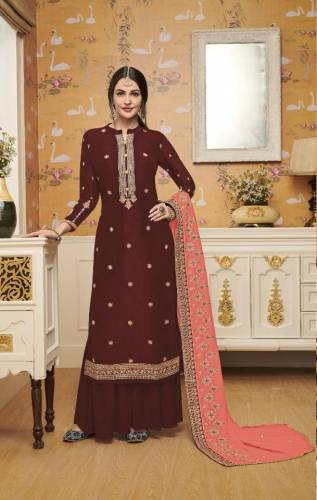 Stunning Brown Silk With Embroidered Work Plazo Salwar Suit