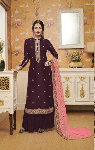 Beautiful Maroon Silk With Embroidered Work Plazo Salwar Suit