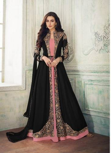 Black Georgette Embroidered Stone Work Salwar Suit