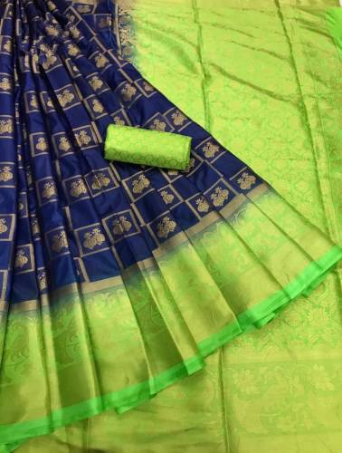 Blue & Green Nylon Silk With Rich Pallu Saree For Women