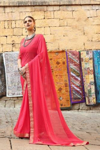 Awesome Pink Brasso Printed Saree-VT3142107G