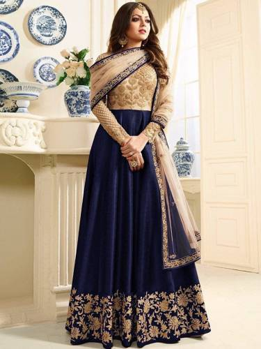 Dazzling Blue Net Silk With Embroidered Work Salwar Suit-VT3048222F