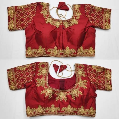 Amazing Maroon Color Full Stitched Fantom Silk Embroidered Thread Zari Stone Work Blouse For Party Wear