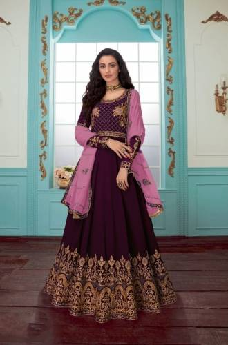 Beautiful Wine Georgette Chine Stitch Work Designer Salwar Suit