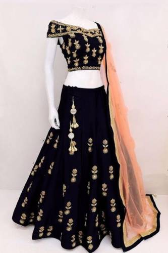 Arresting Black Tapetta Silk With Embroidered Work Lehenga Choli-VT1159DVD9040F