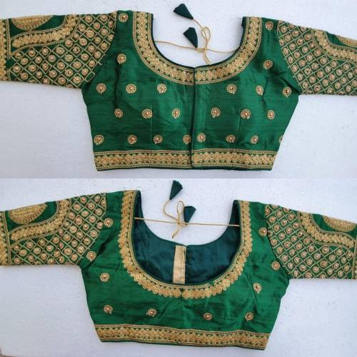 Amazing Green Zari Stone Work Readymade Silk Beautiful Blouse Design