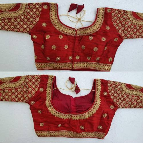 Beautiful Maroon Silk With Stone Zari Work Readymade Blouse