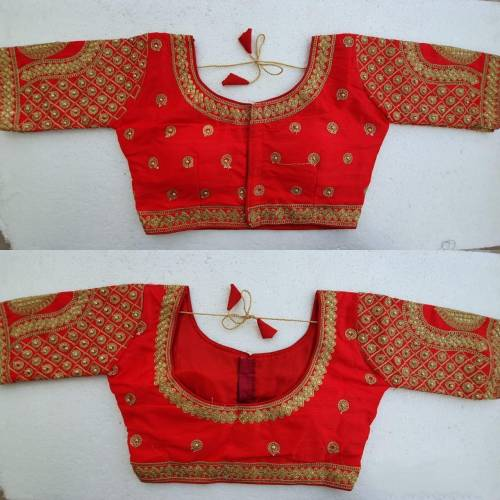 Beautiful Red Silk Zari Stone Work Readymade Beautiful Blouse Design