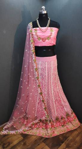 Beautiful Pink Net With Embroidered Diamond Work Lehenga Choli