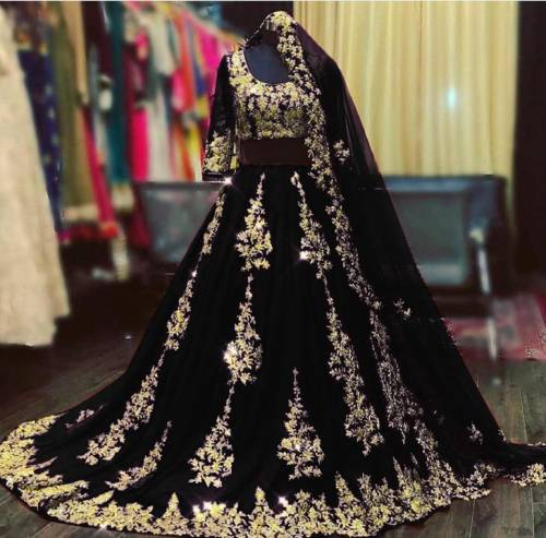 Alluring Black Embroidered Work Georgette Lehenga Choli-VT1159DVDMC9097B