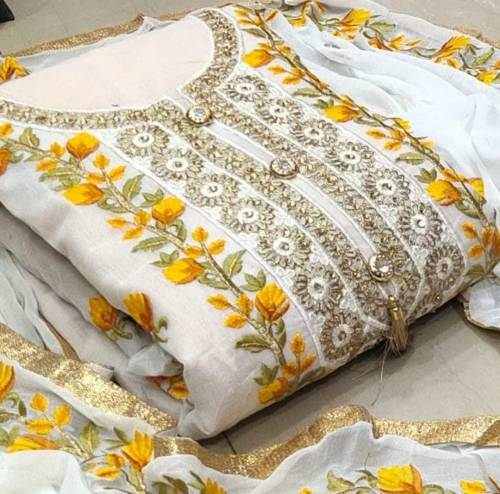 Yellow Semi Modal With Embroidered Work Salwar Suit