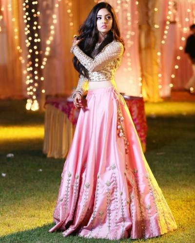 Atrtistic Off White Satin With Embroidered Work Party Wear Lehenga Choli