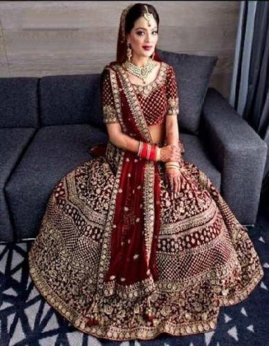 Alluring Maroon Velvet With Embroidered Work Lehenga Choli-VT1159DVDMC9088A