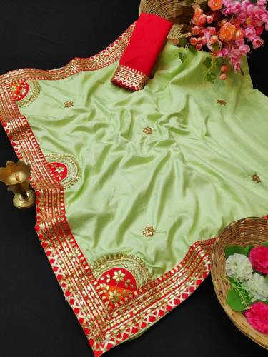 Adorable Pista Colored Silk With Gotta Patti Work Saree-VT2056112F