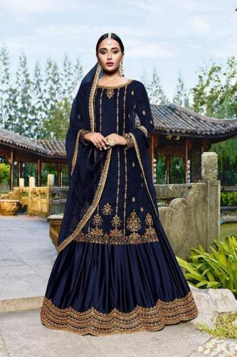 Amazing Navy Blue Velvet With Embroidered Work Salwar Suit