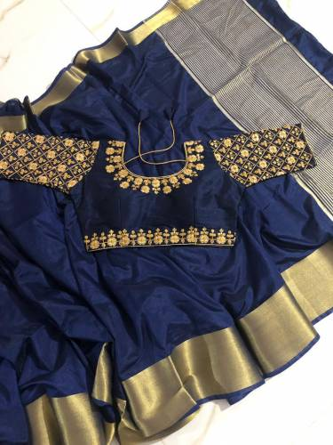 Party Wear Navy Blue Nylon Silk With Zari Border Fancy Saree Blouse For Women