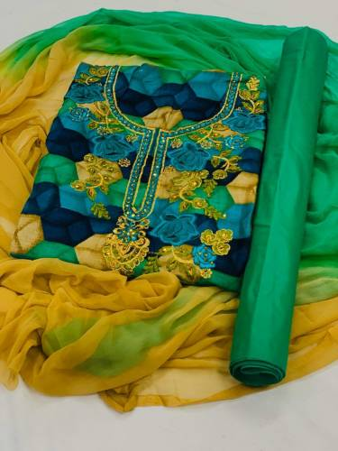 Admirable Rama Green Rayon With Embroidered Work Salwar Suit