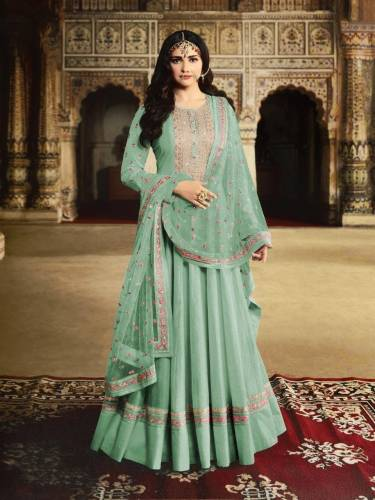 Dazzling Sea Green Silk With Embroidered Work Salwar Suit-PavitraFashion112A