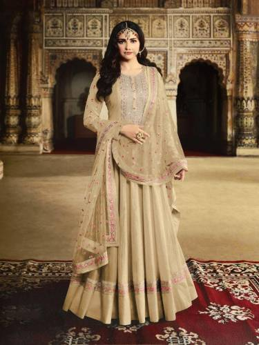 Beautiful Cream Silk With Embroidered Work Unstitched Salwar Suit For Women