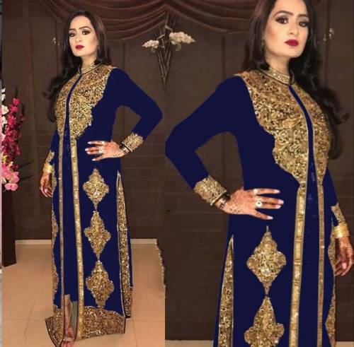 Beautiful Royal Blue Georgette Embroidered Work Salwar Suit