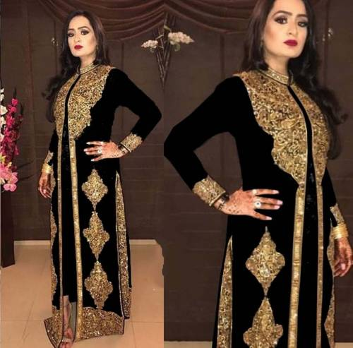 Amazing Black Georgette With Embroidered Work Salwar Suit