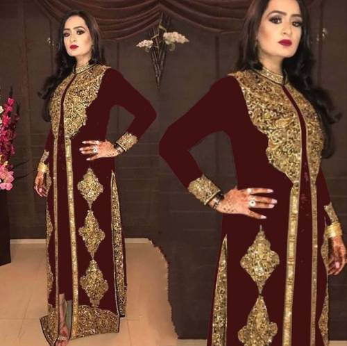 Lovely Maroon Georgette With Embroidered Work Salwar Suit-VIVAAHFASHION102D