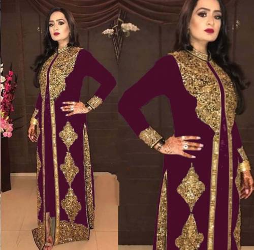 Unique Wine Georgette With Embroidered Work Salwar Suit-VIVAAHFASHION102E