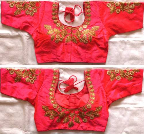 Astounding Pink Color Silk With Thread Coding Work Readymade Blouse