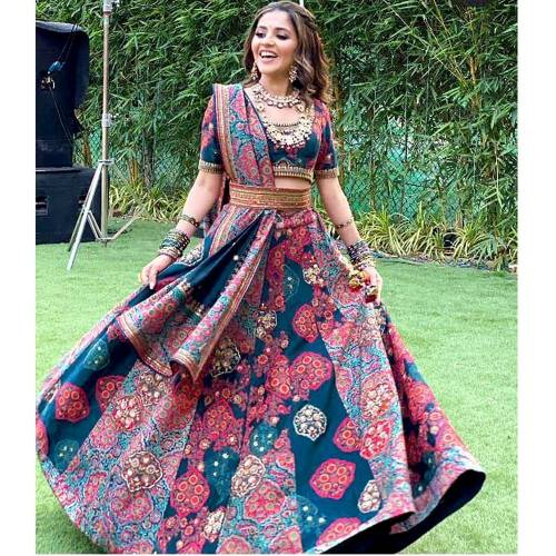 Beautiful Dark Rama Italian Satin Digital Printed Lehenga Choli