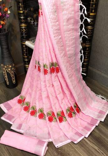 Amazing Pink Cotton Linen With Silver Zari Border Saree-VT2056113C
