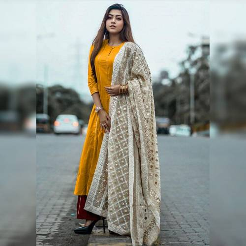 Awesome Mustard Cotton With Digital Printed Plazo Salwar Suit