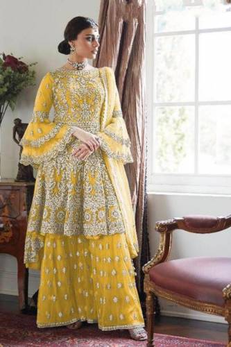 Unique Yellow Net With Embroidered Work Salwar Suit For Wome