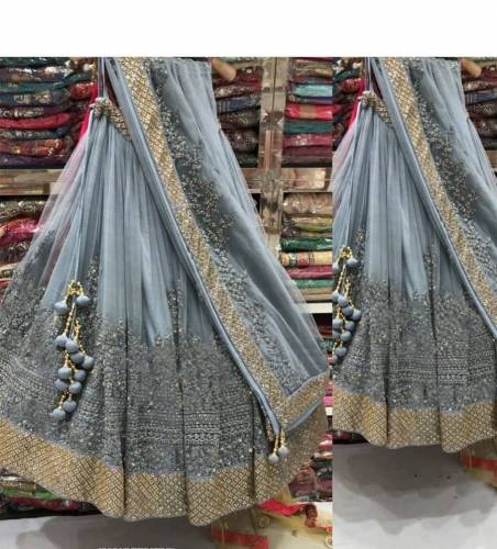 Beautiful Grey Net With Heavy Work Lehenga Choli Design Online