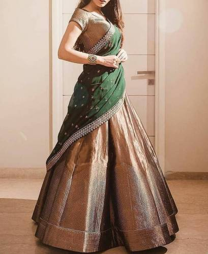 Awesome Green Color Gotta Zari With Embroidered Work Party Wear Lehenga Choli