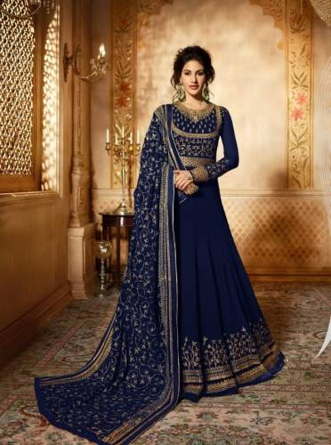 Bewildering Navy Blue Georgette with Embroidery Anarkali Suit
