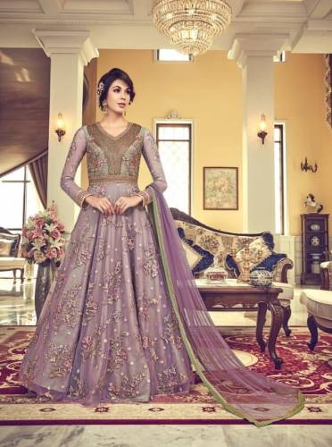 Bewildering Purple Butterfly Net with Embroidery Anarkali Suit