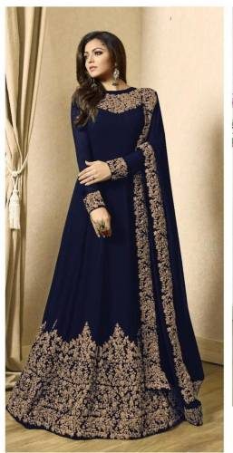 Beautiful Navy Blue Color Georgette with Coading work Anarkali Suit