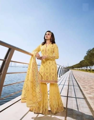 Yellow Georgette Embroidered Sharara Salwar Suit Design Online