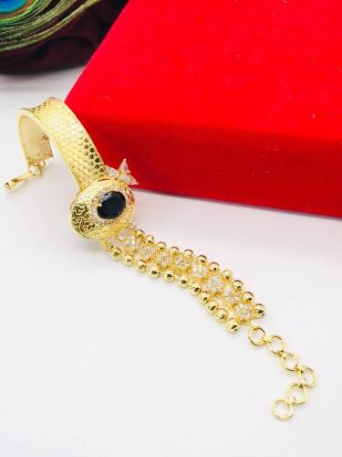 Classic Black American Diamond Golden Imitation Bracelet KLP414
