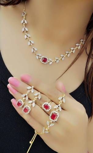 Amazing Red Diamond Color Jewellery Set For Women