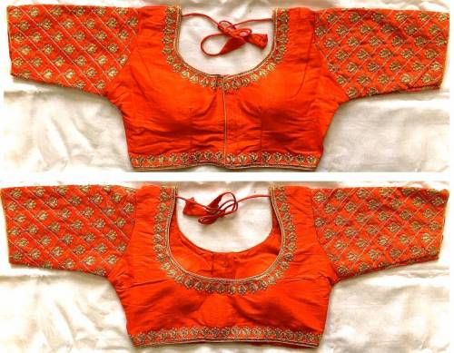 Amazing Orange Phantom Silk Zari Thread Work Ready Made Blouse Online