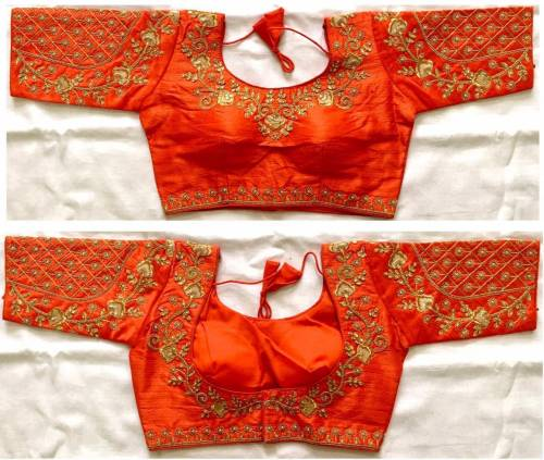 Adorable Orange Phantom Silk Stone Zari Thread Work Full Stitched Blouse